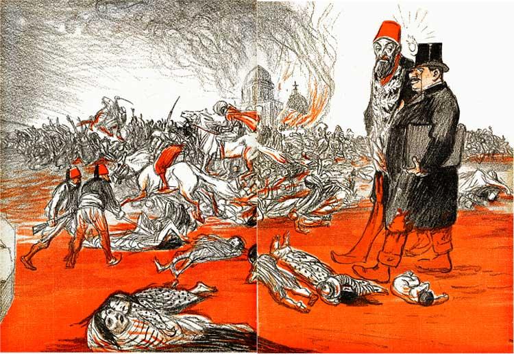 Massacre des Arméniens sous les yeux des puissances occidentales, L'assiette au beurre, dessin de Steinlen, n°47, 28 février 1902.