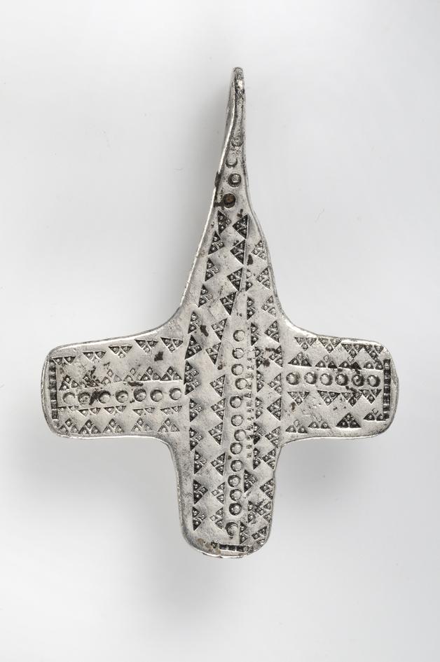 Pendant, cross shaped Silver Grave find, Vinor, Fårö, Gotland, Sweden. SHM 22459:6